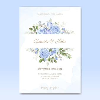 Cartão de modelo de convite de casamento com flores