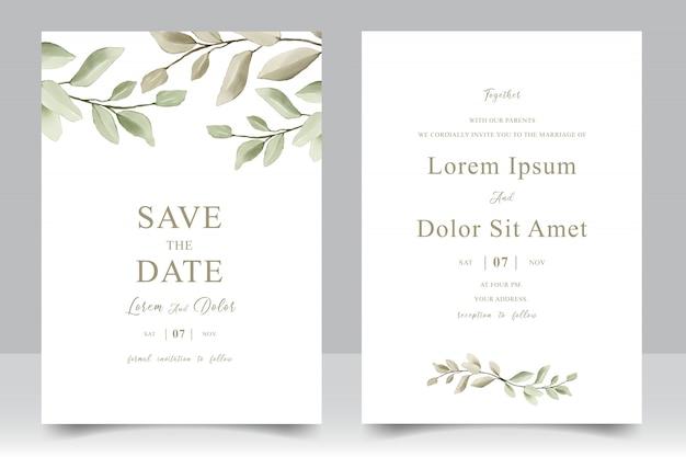 Cartão de modelo de convite de casamento elegante com folhas em aquarela