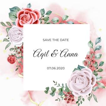 Cartão de modelo de convite de casamento em aquarela elegante de noivado rosa