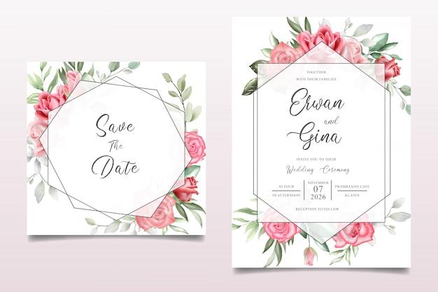 Cartão de modelo de convite de casamento floral aquarela