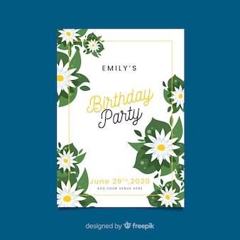 Cartão de modelo para festa de aniversário