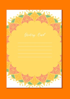 Cartão de modelo vintage de mandala em árabe e indiano, islã e otomano, estilo turco, asiático para brochura, folheto, saudação, cartão de convite, capa. formato a4. design decorativo de férias florais. vetor