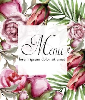 Cartão de moldura aquarela floral
