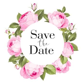 Cartão de moldura de casamento com rosas florescendo.