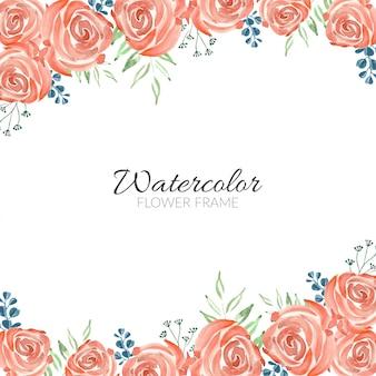 Cartão de moldura floral rosa multiuso aquarela