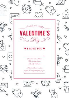 Cartão de moldura quadrada colorida original com muitos pequenos corações, envelopes e outros símbolos ao redor da ilustração vetorial de texto