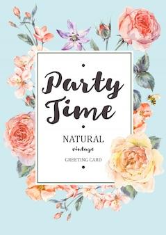 Cartão de moldura vertical com caveira e peônia rosa