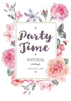 Cartão de moldura vertical com rosa rosas inglesas florescendo