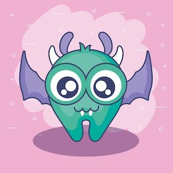 Cartão de monstro fofo com asas voando