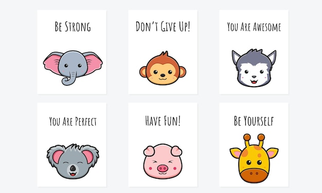 Cartão de motivação fofo com desenho de animal desenho ícone ilustração desenho estilo cartoon plana