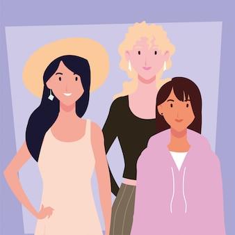 Cartão de mulheres com poses diferentes