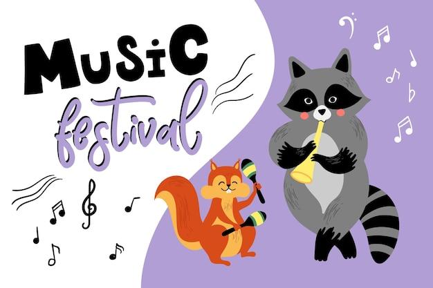 Cartão de música de vetor com músicos de animais de desenho animado tocando instrumentos musicais. ilustração fofa