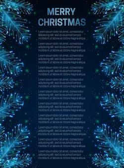 Cartão de natal abstrato com galho de árvore do abeto fundo geométrico do projeto do estilo poli baixo