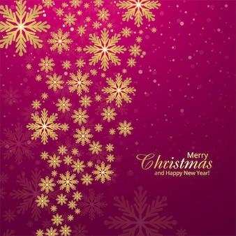 Cartão de natal abstrato flocos de neve festival fundo dourado