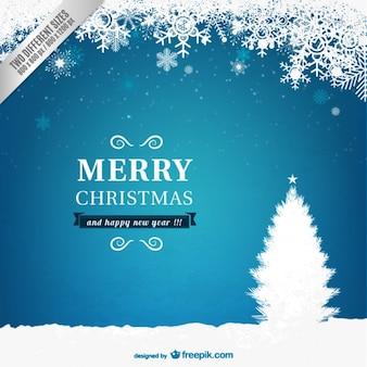 Cartão de natal azul e branco