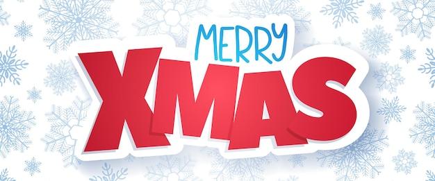 Cartão de natal, banner horizontal de merry xmas.