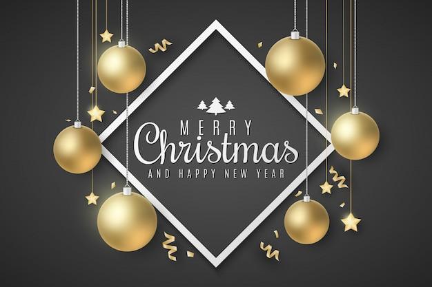 Cartão de natal bolas e estrelas douradas. serpentina e confetes em um fundo preto. letras elegantes no quadro. cartaz festivo para seu projeto.