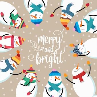 Cartão de natal bonito design plano com boneco de neve e desejos