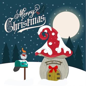Cartão de natal bonito design plano com casa de fadas.