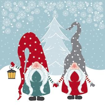 Cartão de natal bonito design plano com ilustração de gnomos felizes
