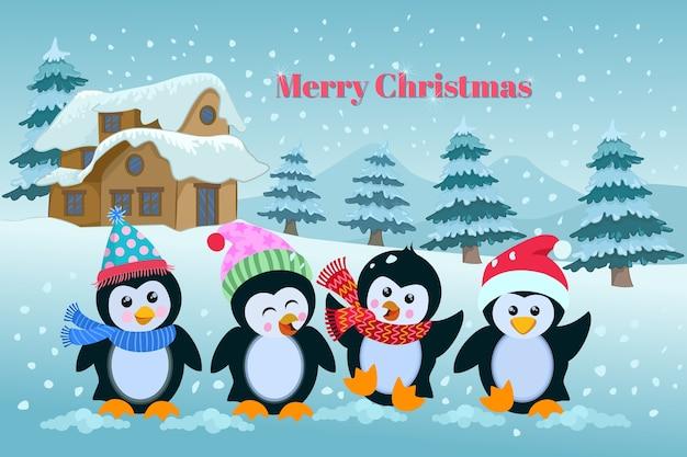 Cartão de natal bonito dos pinguins dos desenhos animados.