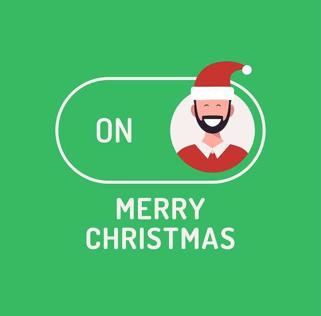 Cartão de natal. botão alternativo de modo de conceito criativo feliz natal ou ano novo. botão deslizante na ilustração em vetor plana natal com avatar de pessoa personagem no botão verde.