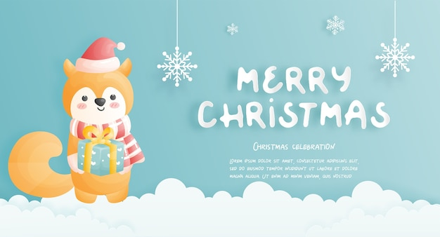 Cartão de natal, celebrações com cena de natal de raposa bonita, ilustração.