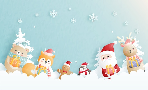 Cartão de natal, celebrações com o papai noel e amigos, cena de natal na ilustração do estilo de corte de papel.