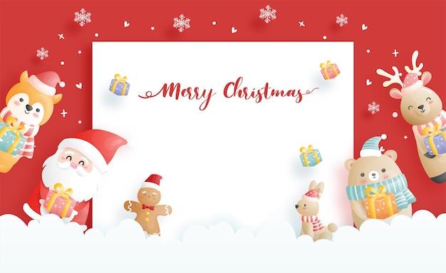 Cartão de natal, celebrações com o papai noel e amigos, cena de natal na ilustração do estilo de corte de papel. Vetor Premium