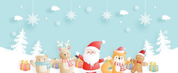 Cartão de natal, celebrações com papai noel e amigos, banner de cena de natal na ilustração do estilo de corte de papel.