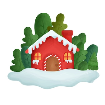 Cartão de natal com a casa da cor da água na floresta.