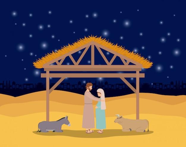 Cartão de natal com a família sagrada e animais no estábulo