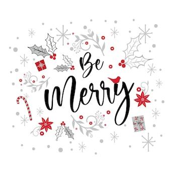 Cartão de natal com a letra feliz e enfeite de natal