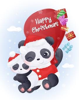 Cartão de natal com a linda mamãe e o bebê panda voando