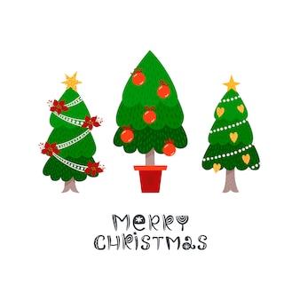 Cartão de natal com abetos vermelhos e letras.