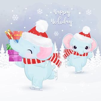 Cartão de natal com adoráveis elefantes brincando juntos