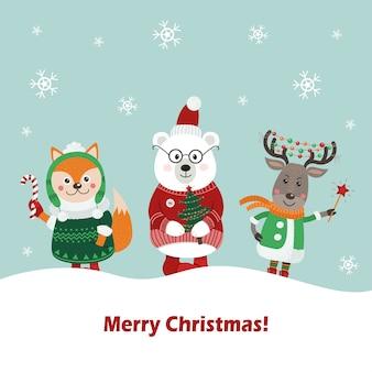 Cartão de natal com animais fofos da floresta.