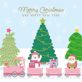 Cartão de natal com animais fofos dentro do trem.