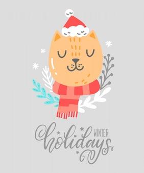 Cartão de natal com animal fofo. lindo gato ruivo com cachecol, chapéu de natal, elementos florais, flocos de neve. cartão de felicitações