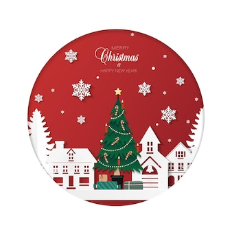 Cartão de natal com árvore com presentes em uma cidade de inverno em estilo de corte de papel