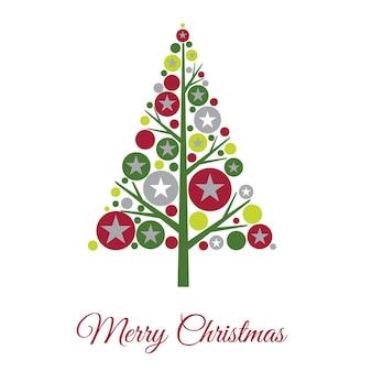 Cartão de natal com árvore de bolhas de decoração
