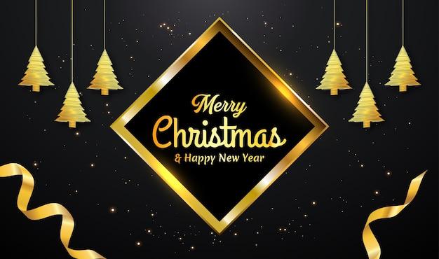Cartão de natal com árvore de linha dourada