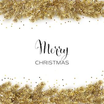 Cartão de natal com árvore de natal dourada e glitter dourado
