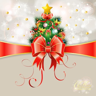Cartão de natal com árvore de natal e arco, ilustração vetorial