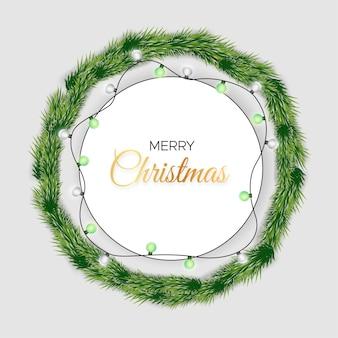 Cartão de natal com árvore de natal e luzes decorativas