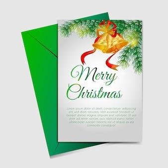 Cartão de natal com árvore de natal e sinos