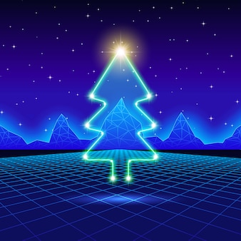 Cartão de natal com árvore de néon dos anos 80
