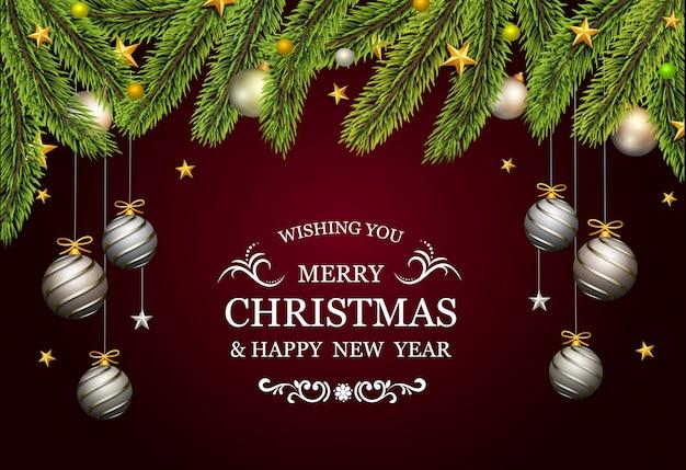Cartão de natal com árvore do abeto e bolas decorativas de platina ouro