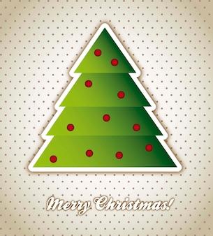 Cartão de natal com árvore sobre vetor de fundo vintage