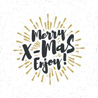 Cartão de natal com as letras merry x-mas enjoy e efeito sunburst gold glitter
